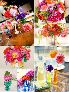 Fun colors but I would want to add some softer colors to the arrangements as well.