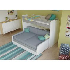 Brayden Studio Gautreau Twin Bunk Bed over Full XL Sofa Bed, Table and Trundle Bed Frame Color: High gloss white/Mat silver Bunk Bed With Trundle, Full Bunk Beds, Kid Beds, Xl Sofa, Sofa Bed, Kids Bedroom, Bedroom Decor, Bedroom Ideas, Bed Table
