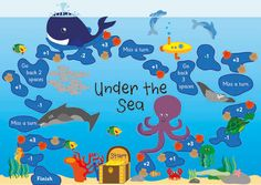 Under the sea themed board game ideal to help children develop basic numeracy skills in a fun and engaging way. The aim of the game is to travel along the board collecting as many shells as possible. Preschool Board Games, Educational Board Games, Math Board Games, Printable Board Games, Free Printable, Activity Games, Under The Sea Games, Under The Sea Theme, Teaching Displays