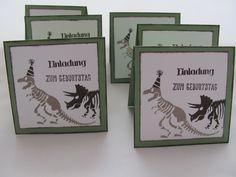 Einladung Kindergeburtstag Dino Kärtchen
