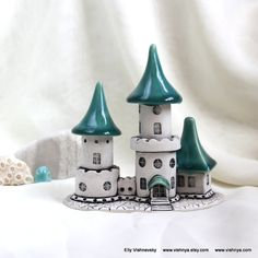 Unique, hand-made and lovely ceramic magical Gothic romantic Turquoise Castle. This is an original design from art-studio Vishnya, so you will not find this anywhere else. Wonderful gift for all who loves Fantasy and Legends. By Vishnya on Etsy! Sculpture Projects, Sculpture Clay, Clay Houses, Mini Houses, Doll Houses, Diy Incense Holder, Biscuit, Nook, Clay Fairy House