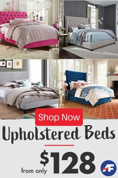 Create the upholstered headboard bedroom of your dreams while Adding a pop of style --- Tons of styles, colors and sizes means we're sure to have you perfectly plush match! Bed Without Mattress, American Freight Furniture, Erin Gray, Sleigh Beds, Upholstered Beds, Awesome Bedrooms, Daybed, Furniture Sets, Comforters