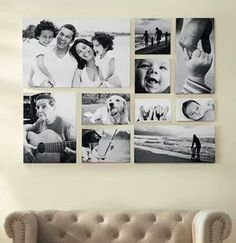 Create photos on canvas and photos on wood wall gallery collages. clocks, street signs, typography for stunning wall gallery. Photo Wall Design, Photo Wall Decor, Photo Wall Collage, Wood Picture Frames, Frames On Wall, Ideas Decorar Habitacion, Collage Des Photos, Galley Wall, Family Pictures On Wall