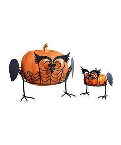 'Hoo Knew' Pumpkin Stand Set  Small: 5.6'' W x 5.12'' H x 5.25'' D Large: 9.5'' W x 10.5'' H x 8.5'' D 29.99