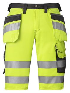 High-Vis Holster Pocket Shorts, Class 1 keep you visible even when the weather is hot. Stand out with a range of smart pockets, innovative cut and of course #reflective striping al around.- Snickers Workwear Artnr. 3033