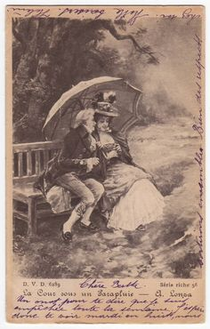 Antique european postcard with a print of the painting by Antonio Lonza, Courting under an Umbrella - 1902