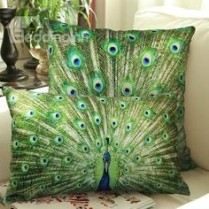 New Arrival One Pair of Beautiful Peacock Spreading Tail Print Throw Pillowcases  @bedding inn