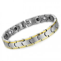 Tungsten Silver Wheat Link Bracelet with Plating 18K Gold C933