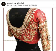 Made for a special bride. To customise ur wedding theme blouse call us at Zarigai- The Golden Thread by Gitanjali. Bridal Blouse Designs, Saree Blouse Designs, Designer Blouse Patterns, Indian Bridal Wear, South Indian Bride, Work Blouse, Goddess Lakshmi, Hand Embroidery, How To Wear