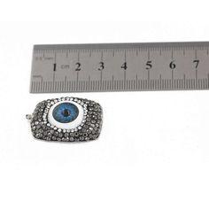 3 Evil Eye Pendant - Glass Evil Eye Charms - Blue Eye - Rectangle Pendant - Rhinestone Crystal - Pen