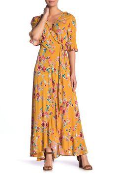 Band of Gypsies - Hudson Floral Print Maxi Wrap Dress Maxi Wrap Dress, Ruffle Dress, Top Designer Brands, Nordstrom Dresses, Floral Prints, Clothes, Band, Women, Nordstrom Rack