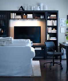 tv room pay atention to the cooperish paint around the TV within the dark blue painted book shelf.