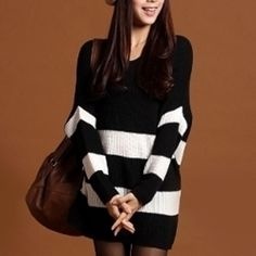 Description:Women's Knit Striped SweaterFabric: Acrylic, CottonSize available: One SizeColor Available: Black & White*This item measures smaller than regular sizes.**Measured lying flat, please leave extra room for clothing. There maybe 1-2cm differences in measurements. One Size Chest : 120 cm / 47.24 inch - Length : : 72 cm / 28 inch