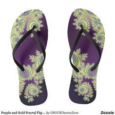 Purple and Gold Fractal Flip Flops Best Flip Flops, Cute Flip Flops, Hawaiian Pattern, Pink Sandals, Designer Sandals, Classic Outfits, Flip Flop Sandals, Fractals, Female