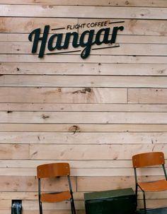 Flight Coffee Hangar, Laser Cut Exterior signage on Macrocarpa slats