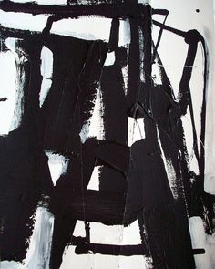 Original black and white modern abstract urban painting by DJ DOMI