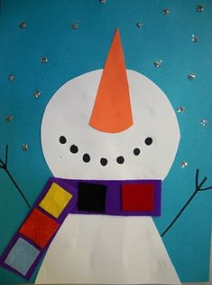Simple, yet compelling art project. The snowman's looking up makes it unique. What is he seeing? The materials are straightforward, and this would make a great snow day art project at home or school!