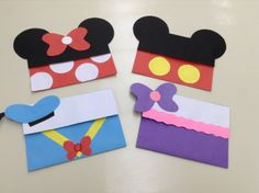 DIY mickey mouse and friends envelop.