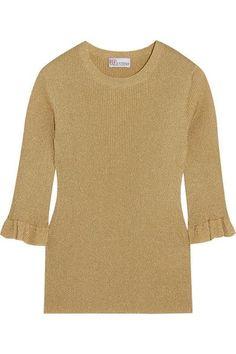 REDValentino - Metallic Ribbed-knit Sweater - Gold - x large