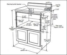 to Install a Microwave Drawer Cutout opening requirements for a Sharp microwave drawer; requirements differ for different sizes and brands.Cutout opening requirements for a Sharp microwave drawer; requirements differ for different sizes and brands. Microwave In Island, Microwave Cabinet, Kitchen Pantry Cabinets, Diy Cabinets, Kitchen Redo, New Kitchen, Kitchen Storage, Kitchen Design, Kitchen Appliances