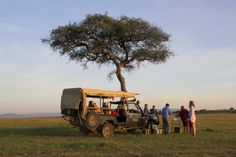 Sundowners picnic whilst on family safari in Kenya.