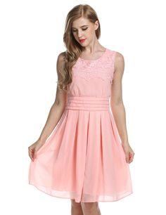Pastel pink Women Lace Chiffon Party Pleated Mini Work Dresses