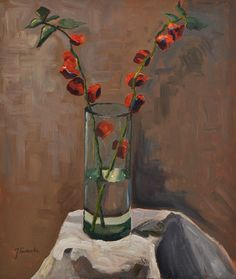 Flowers in a vase still-life, oil paint on canvas. 2016. www.brimbrom.com