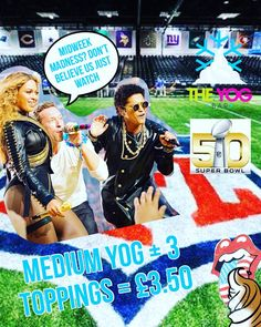 We have you a #SuperDeal after this weeks #SuperBowl! Remember a midweek Madness is on all day! #Superbowl50 #coldplay #beyonce #brunomars #midweekmadness #wednesday #deal #froyo #frozenyoghurt #frozenyogurt by theyogbar