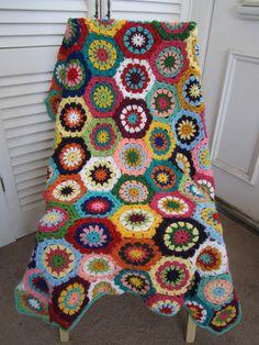 Granny Square Crochet Blanket...Baby Crochet Blanket...Colorful Knitting Patchwork Afghan...Lap blanket  $120