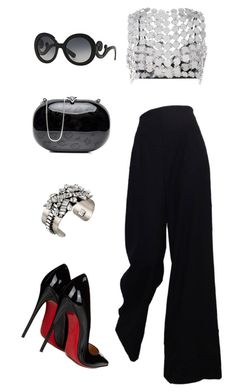 """""""Untitled #1139"""" by christawallace ❤ liked on Polyvore featuring Fannie Schiavoni, The Row, Prada, DANNIJO and Christian Louboutin"""