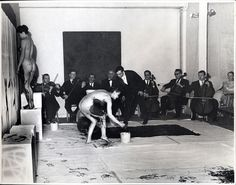 YVES KLEIN: Performence in Paris, anthropometrie, he called it, Klein blue paint and female bodies as application objects. International Klein Blue, Nouveau Realisme, Monochrome, Yves Klein Blue, Art Informel, Fire Painting, Exhibition, Expositions, French Artists