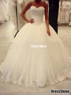 Gorgeous Ball Gown Sweetheart Sleeveless Applique Sweep/Brush Train Tulle Lace Appliques Wedding Dresses - Wedding Dresses 2015 - Wedding Dresses - Weddings