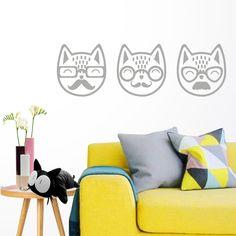 Vinilo Gatos Hipster para pared. Ideas decoración hipster con gatos con bigotes de vinilo http://dolcevinilo.es/vinilo-gatos-hipster  Desde 29,90€ $31 #vinilosdecorativos #decoracion #ideasdecoracion #vinilosalon #decoracionsalon #ideas #florvinilo #viniloflor #salon #dormitorio #inspiracion #recibidor #vinilosanimales #animalesvinilo #muralanimales #animalesmural #gatosvinilo #vinilogatos #vinilohipster #viniloshipster #gatosbigotes