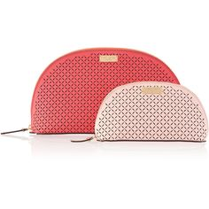 Henri Bendel West 57th Perforated Cosmetic Bag Duo featuring polyvore, beauty products, beauty accessories, bags & cases, pink coral, travel toiletry case, dop kit, travel kit, wash bag and toiletry kits