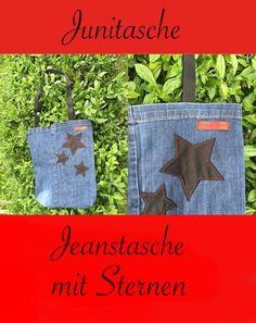 s c h i l l e r's p l a t z l i: Zwei Hobby's vereint meine Junitasche, bag, tote, marketbag, Tasche, Jeanstasche, jeansbag, upcycling, Sterne, Stern, DIY, sew, nähen,