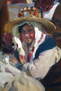 Joaquín Sorolla y su mirada multicultural del paisaje peninsular ibérico.( this picture reminds me of the silly hat Mother Angelica wore for her birthday party that was shown on EWTN…when she was dancing with the mexican women. Painting People, Figure Painting, Painting & Drawing, Spanish Art, Impressionist Paintings, Portrait Art, Portraits, Portrait Paintings, Traditional Paintings