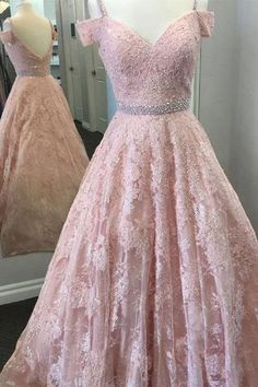 Pink Prom Dresses, Lace Evening Dresses, Evening Dresses A-Line, Backless Prom Dresses Prom Dresses 2019 Prom Dresses For Teens, Prom Dresses With Sleeves, Backless Prom Dresses, A Line Prom Dresses, Teen Dresses, Pink Party Dresses, Dream Dress, Ball Gowns, Lace Dress