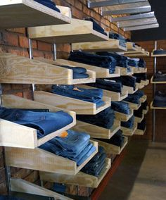 Clothing Store at the Main Change at the Maboneng Precinct - Jeans display Concept Design - Store Display Showroom Design, Retail Interior Design, Retail Store Design, Clothing Store Displays, Clothing Store Design, Clothing Racks, Clothing Store Interior, Clothing Stores, Denim Display