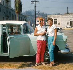 +~ Vintage Color Photograph ~+  Couple of hip chicks from Illinois strike a pose in Hollywood. There are so many wonderful iconic elements to this photograph!  1956