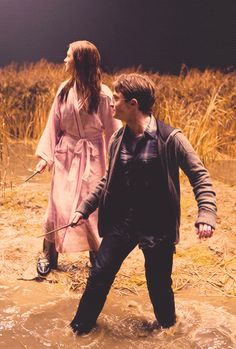 Harry & Ginny~ First adore Ginny instantly running to offer help and protection to Harry. Then love the way Harry jumps in front of Ginny to protect her - without any hesitation!