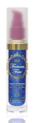 HD Famous Faces Facial Intensifier w/Melapixel 1oz Top Seller by California Tan. $16.20. melapixel tanning technology. clean, pure lotion. high defiinition product. top sellinf facial lotion. facial tanning intensifier. .Help turn back the clock while developing a gorgeous golden glow only a HD FamousTM Face could afford. The Extra Low Molecular Weight Hyaluronic Acid blend combines lush hydrating properties with exclusive antioxidant and anti-aging ingredients. ...