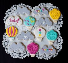 baby shower cookies - clouds, hot air balloons
