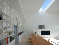 Library House by Shinichi Ogawa and Associates -- perfection:  no windows to the outside world; long, narrow skylights for natural light; clean lines