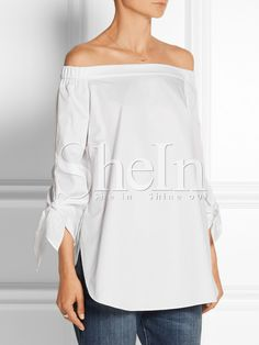 White Long Sleeve Style Off The Shoulder Blouse 15.99