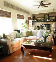 Inviting living room and home tour.  Creams and green.