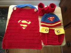 Hand crocheted baby Superman 4 piece set includes all items pictured. Set is made from soft acrylic yarn in a smoke free home. Crochet Baby Clothes, Newborn Crochet, Crochet Baby Hats, Baby Knitting, Knitted Baby, Crochet Gratis, Knit Crochet, Crotchet, Booties Crochet
