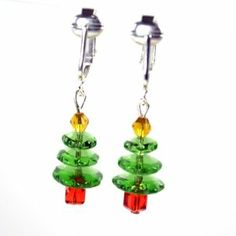 Christmas Clip-on Earrings for Holiday Glamour-Green Crystal Trees-Glass Beaded Dangling Non-pierced Ears w Pierced Look Creation