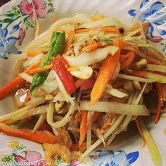 Bangkok Food Tour with Taste of Thailand -- Papaya salad, or som tum, made with grated, unripe green papayas, and other shredded vegetables #Bangkok #Thailand #Travel #FoodTravel