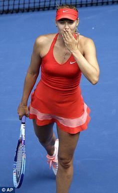 Maria Sharapova  blows a kiss after defeating Peng Shuai...