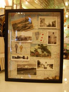 Shadow Box - Also from Foursided. I love the idea of using a vintage map as backing for old family travel photos. The coins at the bottom are extra fun. Photo Souvenir, Souvenir Display, Postcard Display, Travel Memories, Memories Box, Idee Diy, Home And Deco, Photo Displays, Box Frames